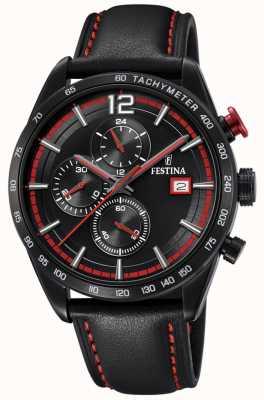 Festina Mens Sport Chronograph Black Leather Strap Black Dial F20344/5