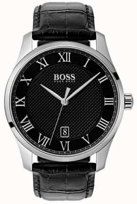 Hugo Boss Mens Master Black Dial Black Leather Watch 1513585