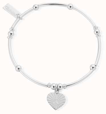 ChloBo Sterling Silver Mini Noodle Ball Sunray Heart Bracelet SBMNB130