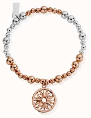 ChloBo Rose And Silver Sun Mandala Bracelet MBSBS577