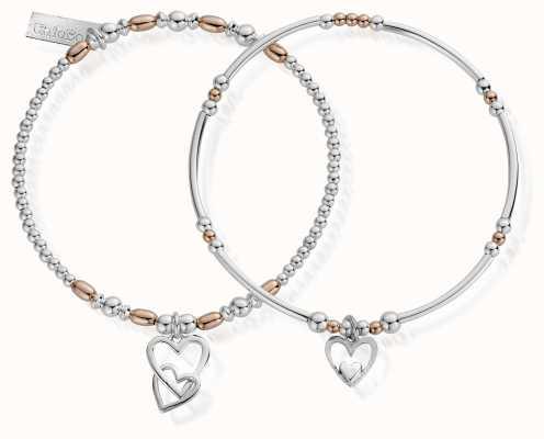 ChloBo Rose And Silver Double Devotion Set Of 2 Bracelets MBSET572732