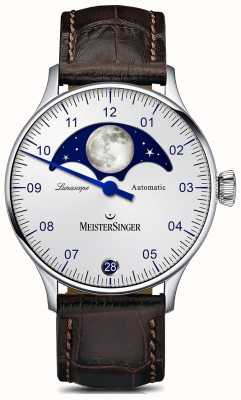 MeisterSinger Pangaea Lunascope Silver Dial Brown Leather Strap LS901