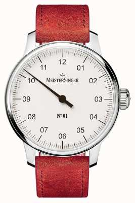 MeisterSinger No. 1 40mm And Wound Sellita Suede Red Strap DM301