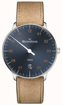MeisterSinger NEO Automatic Steel Blue Dial Suede Cognac Strap NE917G