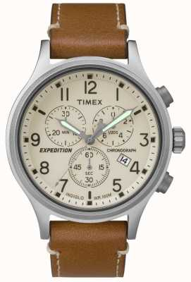 Timex Mens Expedition Chronograph Tan Leather Strap Cream Dial TW4B09200