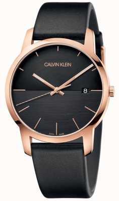 Calvin Klein Mens City Rose Gold Leather Watch K2G2G6CZ