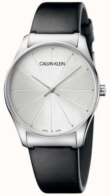Calvin Klein Ladies Black Leather Silver Dial Watch K4D211C6