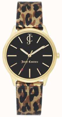 Juicy Couture Womens Leopard Print Leather Strap Black Dial Watch JC-1014GPLE