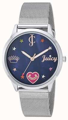 Juicy Couture Womens Silver Mesh Bracelet | Coloured Markers | Blue Dial JC-1025BMSV