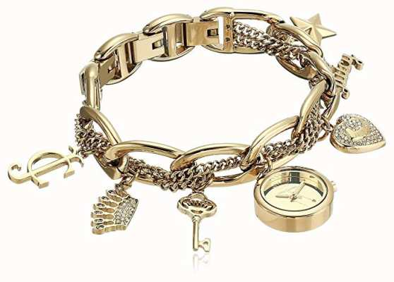 Juicy Couture Womens Gold Tone Stainless Steel Charm Bracelet Watch JC-1040GPCH