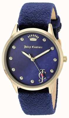 Juicy Couture Womens | Blue Dial | Blue Velvet Strap | Gold Tone Case JC-1060NVNV