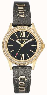 Juicy Couture Womens Gold Tone Case Black Juicy Strap JC-1068BKBK