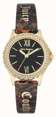Juicy Couture Womens Gold Tone Case | Brown Bangle Strap | Black Case JC-1068BKBN