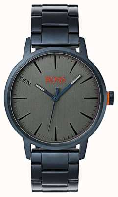 Hugo Boss Orange Mens Copenhagenblue PVD Plated Steel Bracelet Grey Dial 1550059