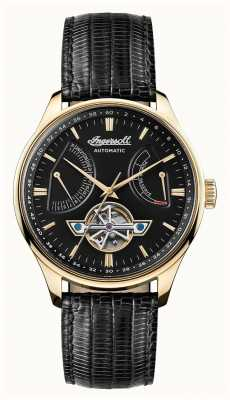 Ingersoll Mens Hawley Automatic Black Dial Black Leather Strap I04606