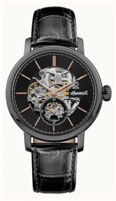 Ingersoll Mens The Smith Automatic Black Dial Black Leather Strap I05705