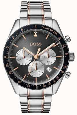 Hugo Boss Mens Trophy Watch Grey Chronograph Dial Stainless Steel 1513634
