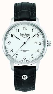 Bruno Sohnle Mens Hamburg Big Quartz White Dial Black Leather Strap 17-13201-921