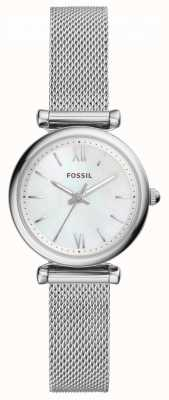 Fossil Womens Carlie Stainless Steel Mesh Mother Of Pearl Dial ES4432