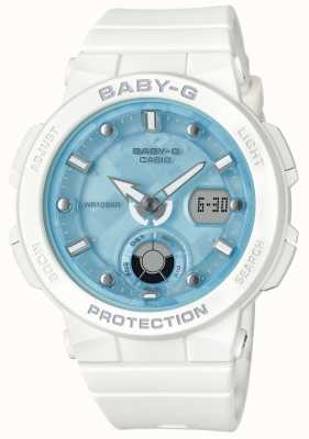 Casio Baby-G White Strap Blue Dial Beach Traveler BGA-250-7A1ER