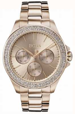 Boss Womens Premiere Crystal Set Gold Plated Bracelet 1502443