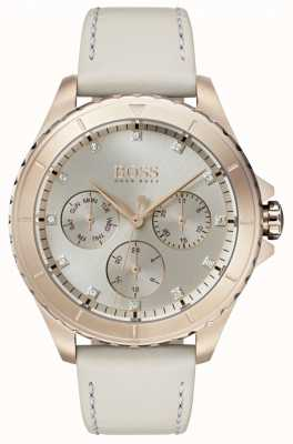 Hugo Boss Womens Premiere Gold Plated Case Beige Leather Strap 1502447