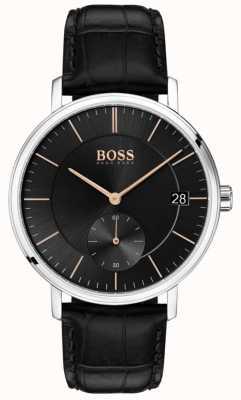Boss Corporal Men's Black Leather Strap Black Dial 1513638