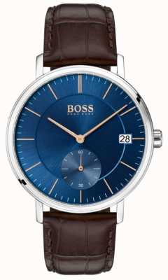 Hugo Boss Mens Corporal Brown Leather Strap Blue Dial 1513639
