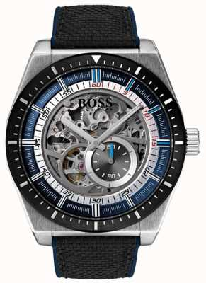 Boss Men's Signature Automatic Skeleton Black Canvas Strap 1513643