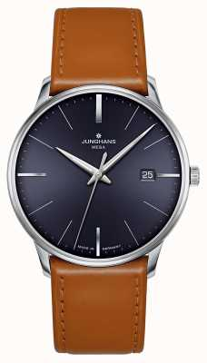 Junghans Meister MEGA MF Brown Blue Dial Leather Strap 058/4801.00