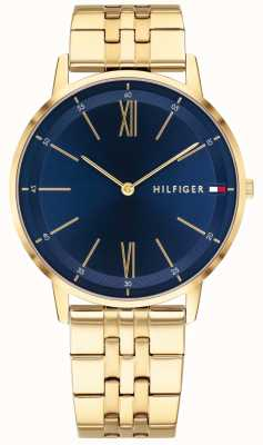 Tommy Hilfiger Mens Cooper Watch Gold Tone Bracelet Blue Dial 1791513