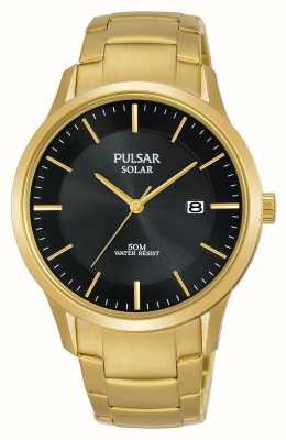 Pulsar Mens Gold Plated Solar Date Dial PX3162X1
