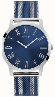 Guess Mens Two Tone Mesh Silver And Blue Bracelet Blue Dial W1179G1