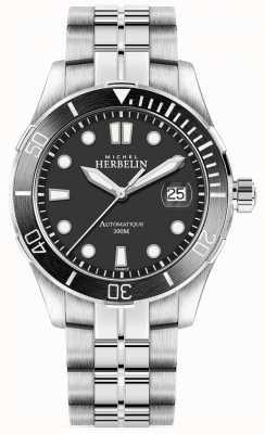 Michel Herbelin Mens Newport Trophy Silver Bracelet Black Dial 1660/N14B