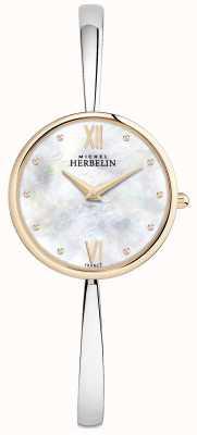 Michel Herbelin Ladies Rose Gold Watch Silver Bangle 17418/BTR19