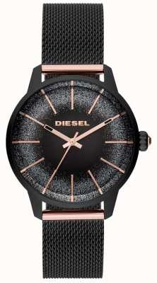 Diesel Womens Castilla Black And Rose Gold Watch Mesh Bracelet DZ5577
