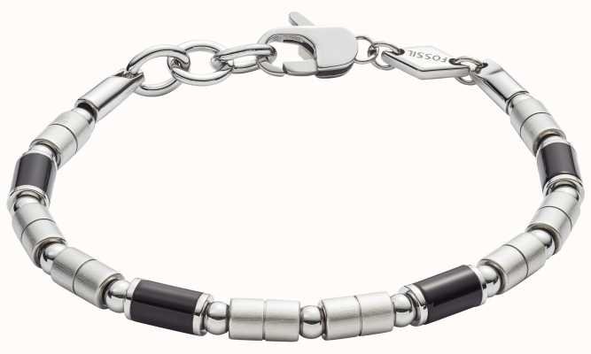 Fossil Mens Steel Bracelet With Black Agate JF02924040
