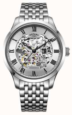 Rotary Mens Greenwich Stainless Steel Bracelet Skeleton Watch GB02940/06