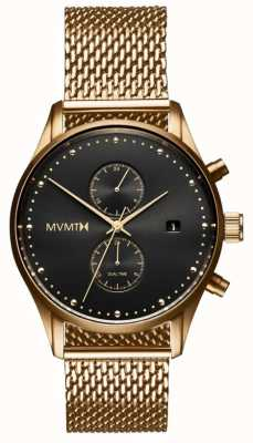 MVMT Voyager Eclipse | Gold Plated Mesh Bracelet | Black Dial D-MV01-G2
