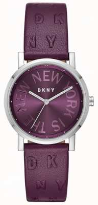 DKNY Womens Soho Purple Leather Purple Dial Watch NY2762