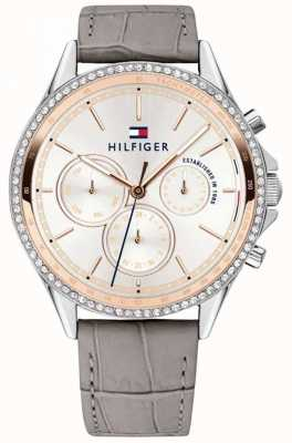 Tommy Hilfiger Women's Grey Leather Strap Crystal Set Multi-function 1781980
