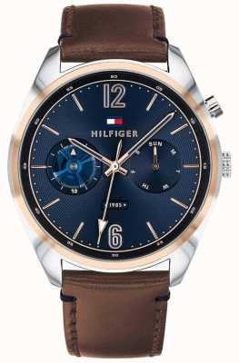 Tommy Hilfiger Mens Blue Dial Multifunction Brown Leather 1791549