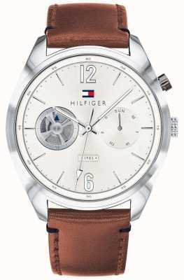 Tommy Hilfiger Mens Brown Leather Stainless Steel Multifunction 1791550