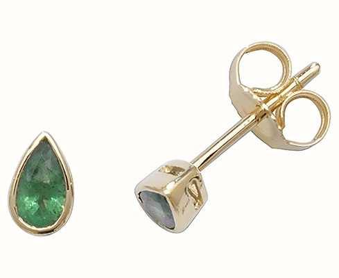 Treasure House 9k Yellow Gold Teardrop Emerald Stud Earrings ED243E