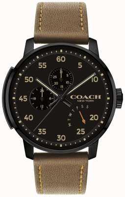 Coach Mens Bleecker Watch Multi Function Black Dial 14602339