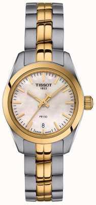 Tissot Ladies PR100 Two Tone Bracelet Mother Of Pearl Dial Watch T1010102211100