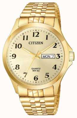 Citizen Mens Quartz Gold Plated Expansion Bracelet Day Date BF5002-99P