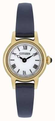 Citizen Womens Eco-Drive Blue Leather Strap Gold Plated White Dial EG2995-01A