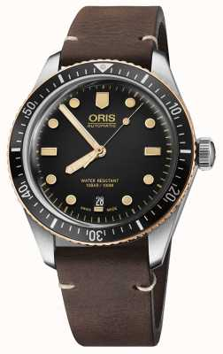 Oris Divers Sixty Five Brown Leather Strap 01 733 7707 4354-07 5 20 55