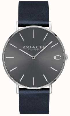 Coach Mens Charles Navy Strap Grey Dial Watch 14602150